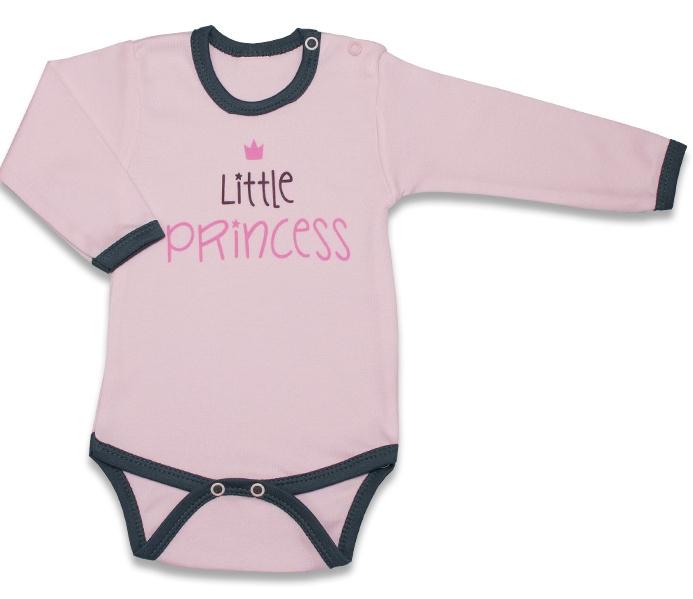 Body dlouhý rukáv, Malá Princezna - růžové, vel. 80