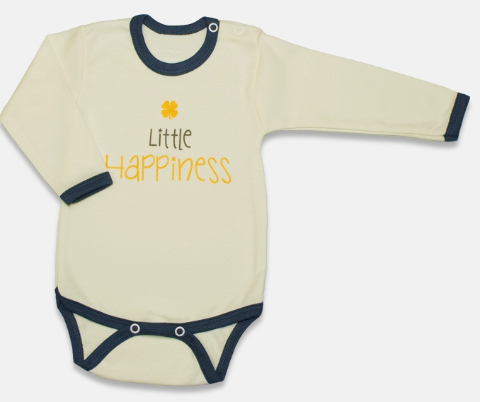 Body dlouhý rukáv, Malé Štěstí - žluté, vel. 68