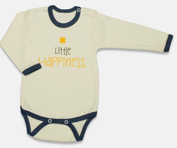 Body dlouhý rukáv, Malé Štěstí - žluté, vel. 74, Velikost: 74 (6-9m)