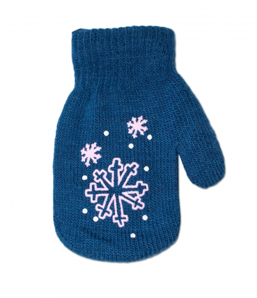 Kojenecké dívčí akrylové rukavičky YO - tm. modré