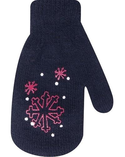 YO !  Kojenecké dívčí akrylové rukavičky YO - granátové