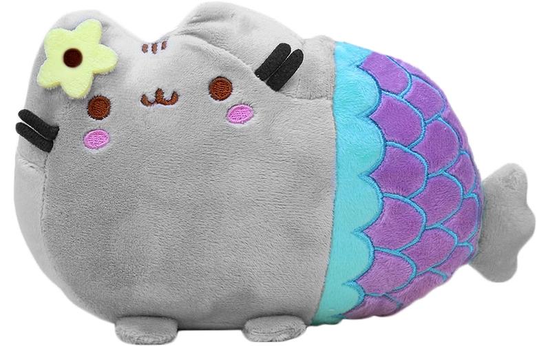 Plyšová kočka/sirénka - dekorační polštářek 30x40cm, šedá