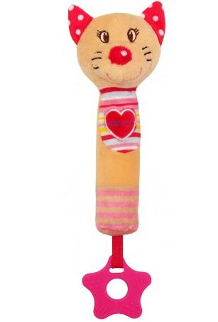 Edukační hračka pískací s kousátkem - Kočička se srdíčkem