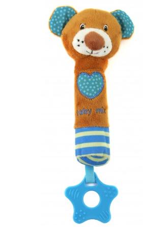 Edukační hračka pískací s kousátkem - Medvídek se srdíčkem