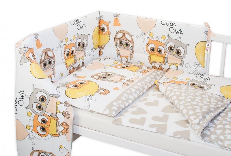 Baby Nellys 3-dílná sada mantinel s povlečením 135x100 cm, Cute Owls - béžová