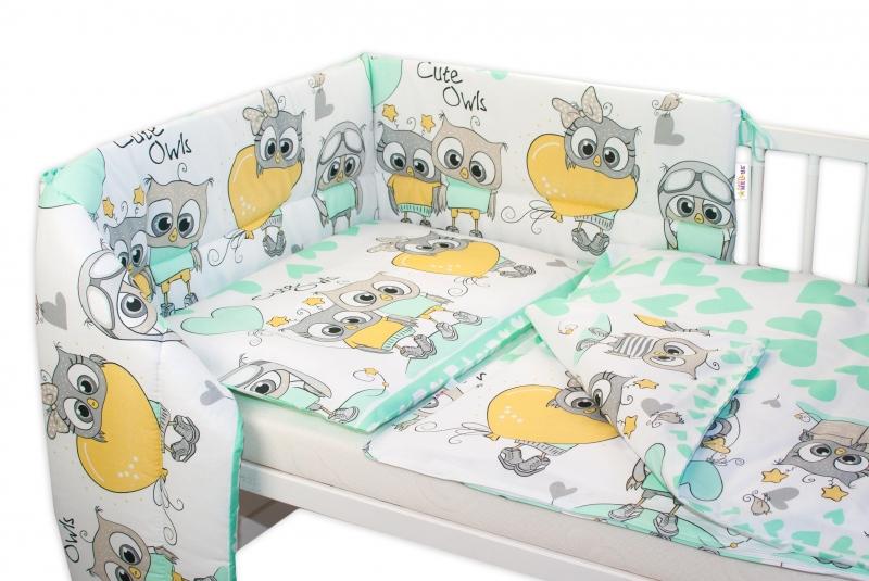 Baby Nellys 3-dílná sada mantinel s povlečením 135x100 cm,  Cute Owls - zelená