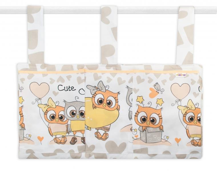 Baby Nellys  Kapsář na postýlku 3 kapsy - Cute Owls - béžový
