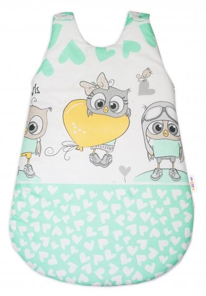 Baby Nellys Spací vak Cute Owls - zelený
