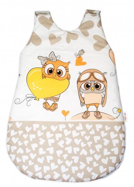 Baby Nellys Spací vak Cute Owls - béžový