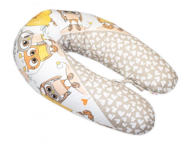 Kojící polštář - relaxační poduška Multi Cute Owls - béžový