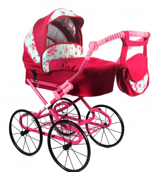NESTOR Dětský kočárek pro panenky s retro koly  - malina, růžičky