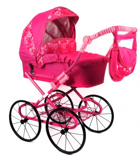 NESTOR Dětský kočárek pro panenky s retro koly  - růžový, srdíčka