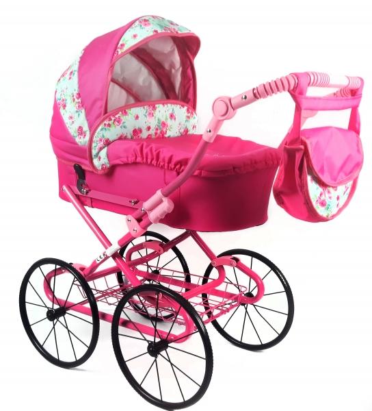 NESTOR Dětský kočárek pro panenky s retro koly  - růžový, růžičky
