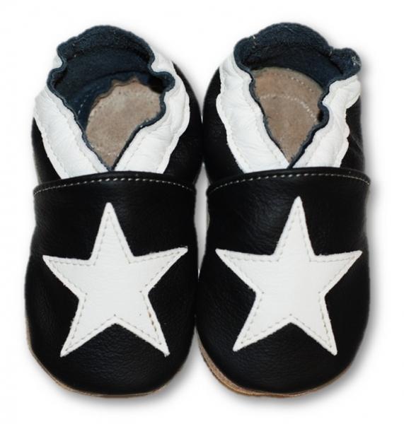Kožené měkoučké botičky s bílou hvězdou - černé, Velikost: 0/6 měsíců