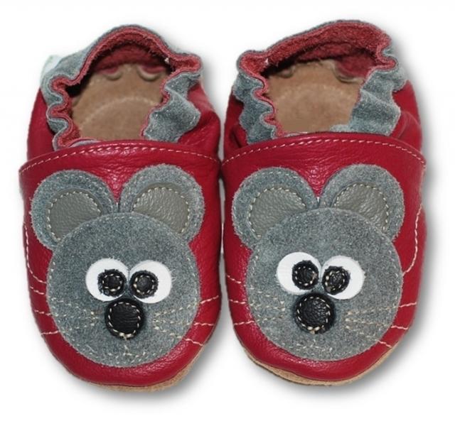 Kožené měkoučké botičky s myškou - malinové, vel. 18 - 24 měsíců