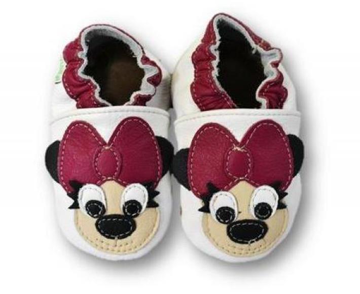 Kožené měkoučké botičky s myškou Lilly - bílé