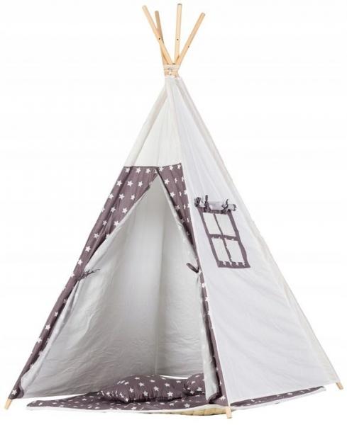 Stan pro děti teepee, týpí s výbavou - bílý,šedý s hvězdičkami