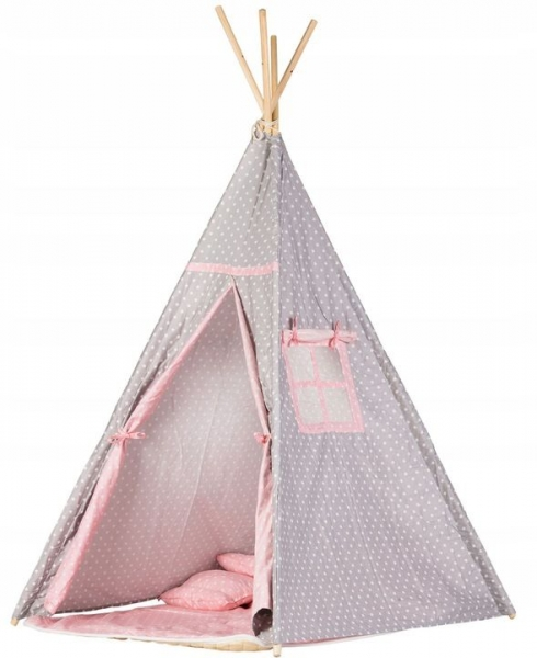 Stan pro děti teepee, týpí s výbavou - sv. šedá s růžovo, puntíky