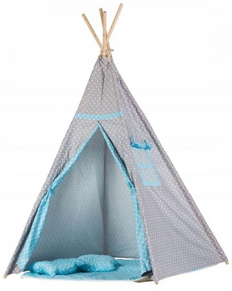 Stan pro děti teepee, týpí s výbavou - sv. šedá s puntíky, sv. modrá