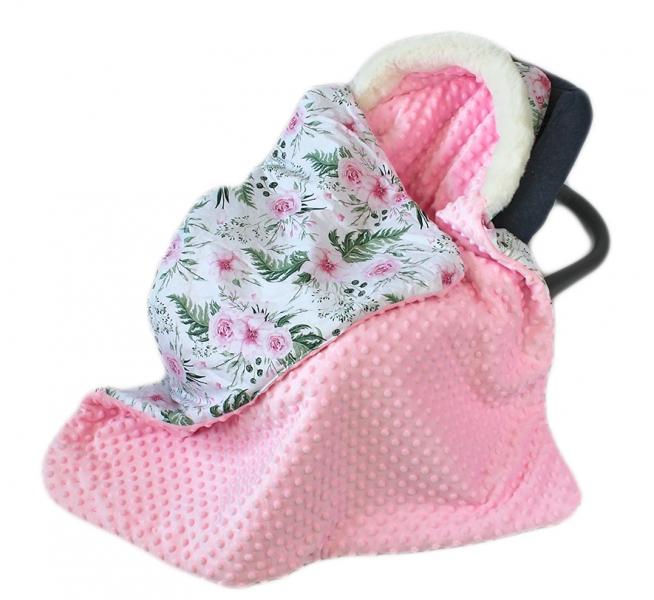 Baby Nellys Bavlněná oboustranná dečka 3v1 s minky a kožešinkou, 90x90 cm, květinky pink