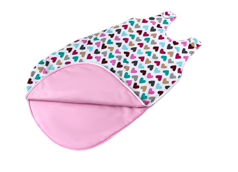 Bavlněný spací vak Srdíčka - vnitřek růžový, 48x80cm