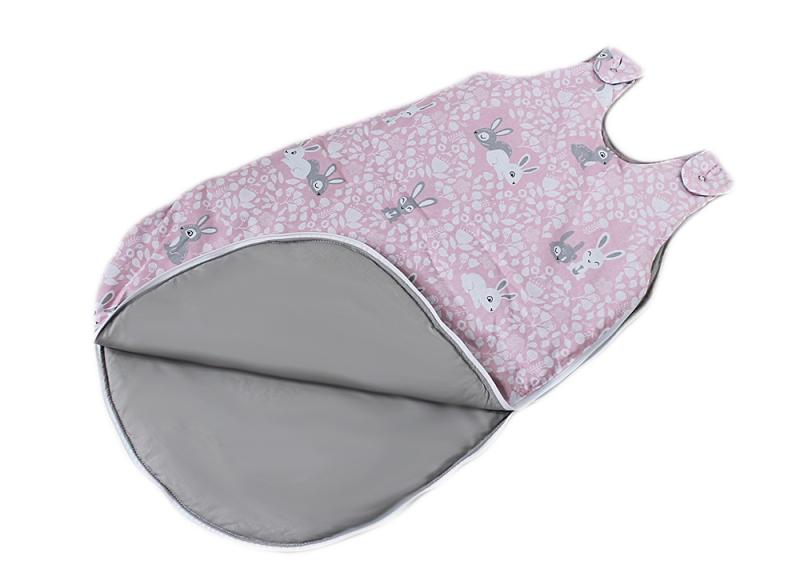 Baby Nellys Bavlněný spací vak Zajíčci - růžový, 48x80cm