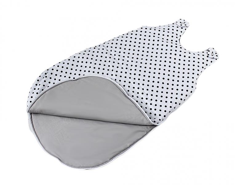 Bavlněný spací vak Tečky na bílém - vnitřek šedý, 48x80cm