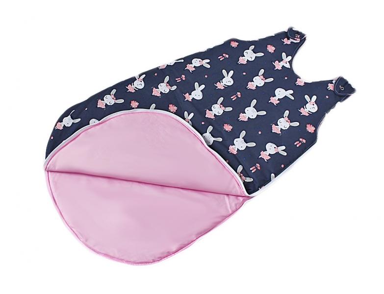 Baby Nellys Bavlněný spací vak Králíčci - vnitřek růžový, 48x80cm