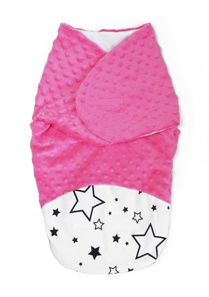Baby Nellys Zavinovačka, spacáček s minky, 0-6m - Hvězdy a hvězdičky, minky růžová