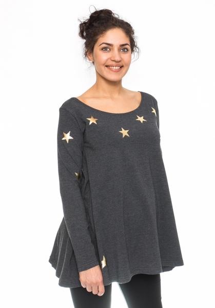 Be MaaMaa Těhotenská tunika volná Star - grafit