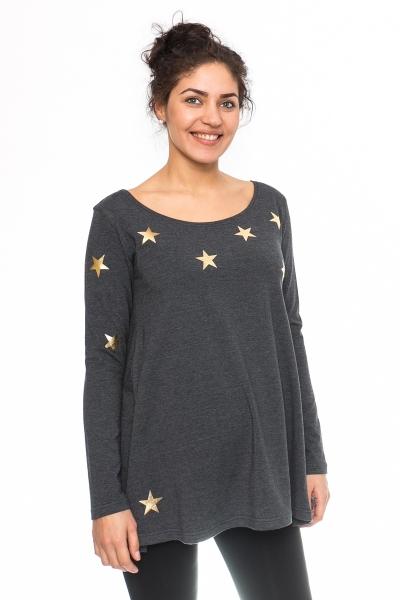 Be MaaMaa Těhotenská tunika volná Star - grafit, vel. XL
