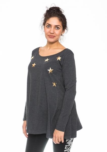 Těhotenská tunika volná Star - grafit, vel. XL