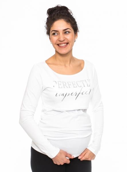 Be MaaMaa Těhotenské, kojící triko Perfektly - bílé, vel. L