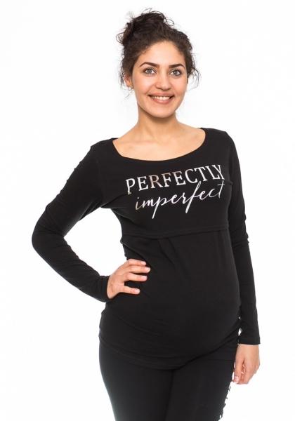 Be MaaMaa Těhotenské, kojící triko Perfektly - černé, vel. L