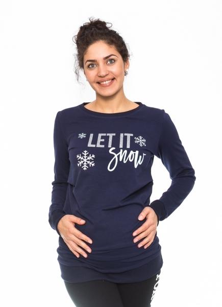 Be MaaMaa Těhotenské triko, mikina Let it Snow - granátové, vel. M, Velikost: M (38)