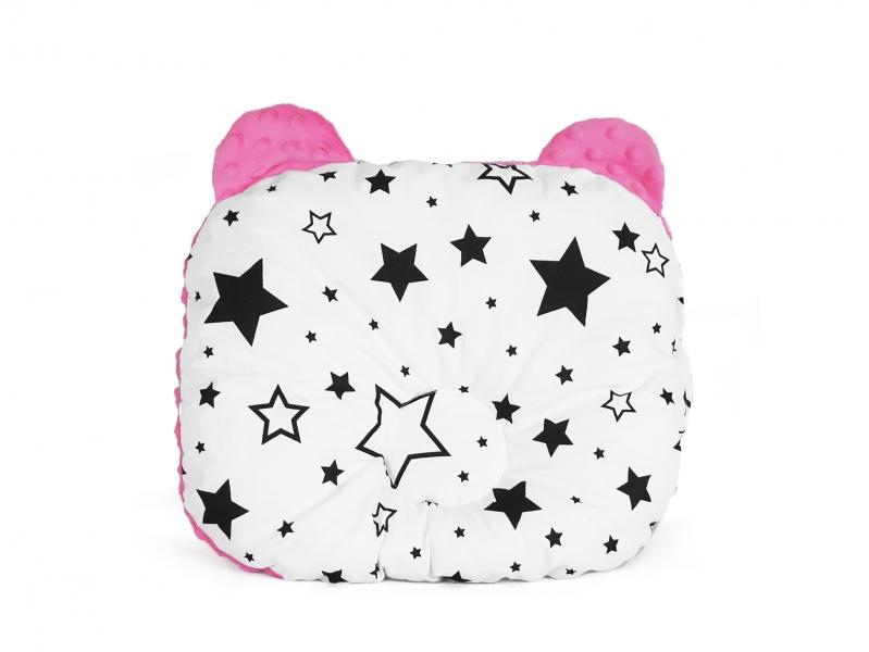 Baby Nellys Oboustanný polštářek s oušky, 30x35cm - Hvězdy a hvězdičky, minky růžová