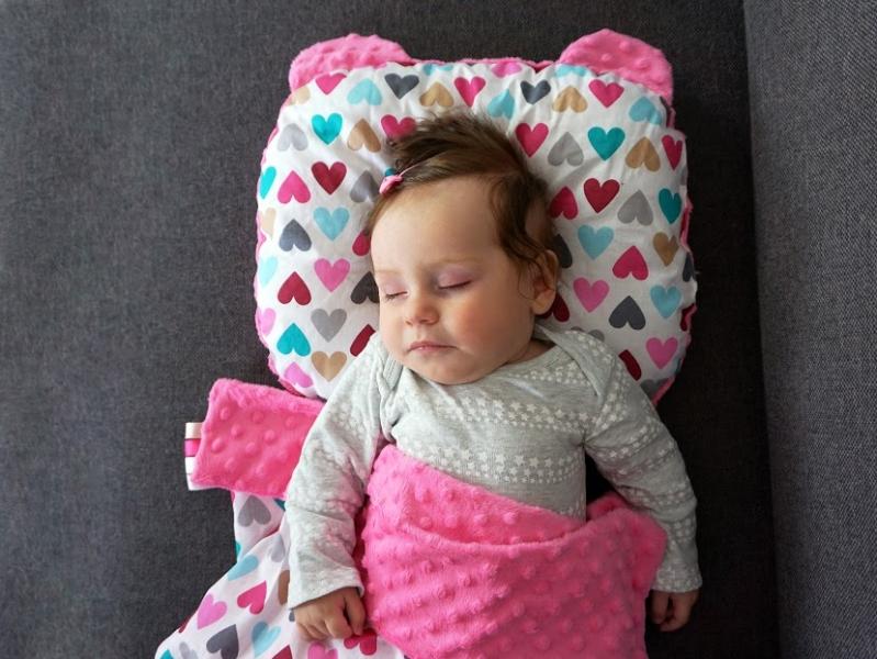 Baby Nellys Oboustanný polštářek s oušky, 30x35cm - Kapradí  , minky růžová