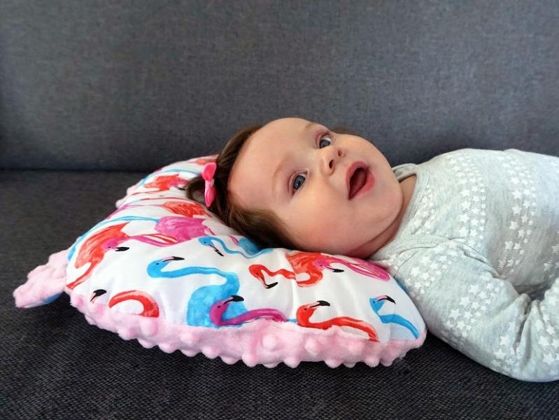 Baby Nellys Oboustanný polštářek s oušky, 30x35cm - Plameňák , minky růžová