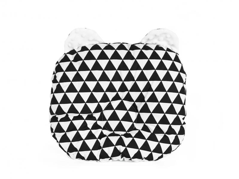 Baby Nellys Oboustanný polštářek s oušky, 30x35cm - Trojúhelníčky,minky bílá