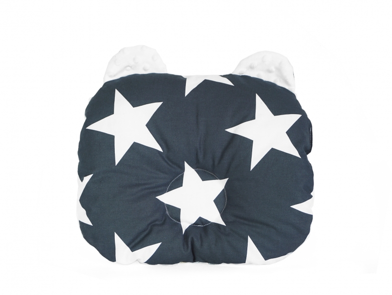 Baby Nellys Oboustanný polštářek s oušky, 30x35cm - Hvězdy,minky bílá