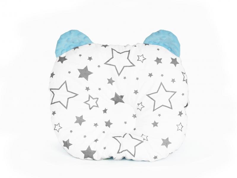Baby Nellys Oboustranný polštářek s oušky, 30x35cm - Hvězdičky ,minky modrá