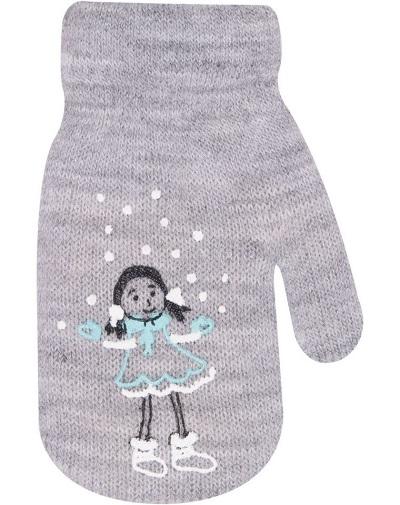 Dívčí akrylové rukavičky, oteplené YO - se šňůrkou, šedé, vel. 13-14 cm
