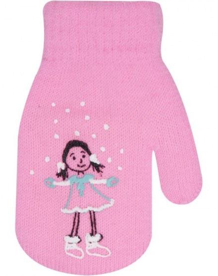 Dívčí akrylové rukavičky, oteplené YO - se šňůrkou, růžové, vel. 13-14 cm