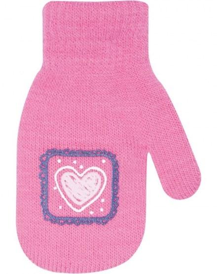 Dívčí akrylové rukavičky, oteplené YO - se šňůrkou, malinové