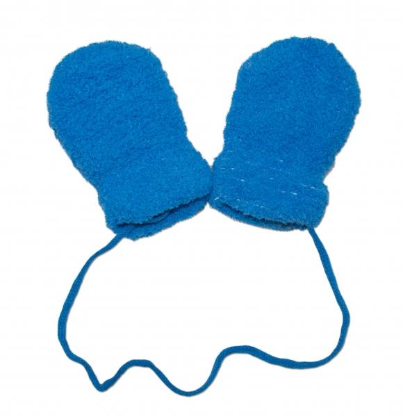 YO !  Zimní kojenecké froté rukavičky se šňůrkou YO - modré