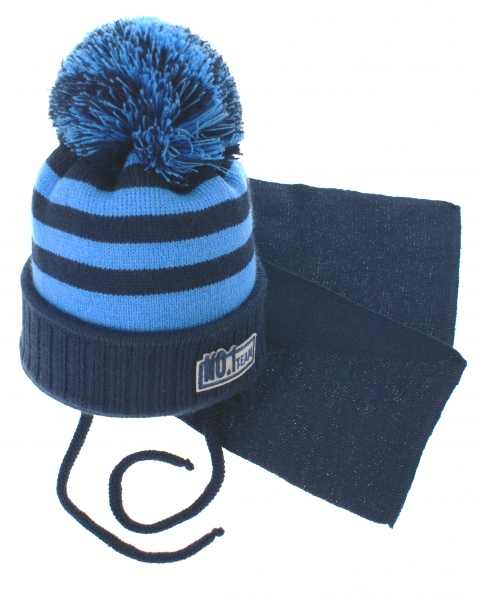 BABY NELLYS Zimní pletená čepička s šálou No.1 Team - proužky granát/modrá, Velikost: 34/36 čepičky obvod
