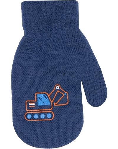 Klučičí akrylové rukavičky, oteplené YO - se šňůrkou, tm. modré, vel. 13-14cm