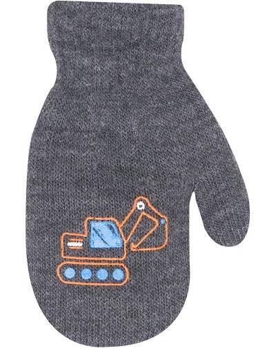 Klučičí akrylové rukavičky, oteplené YO - se šňůrkou, šedé, vel. 12 cm