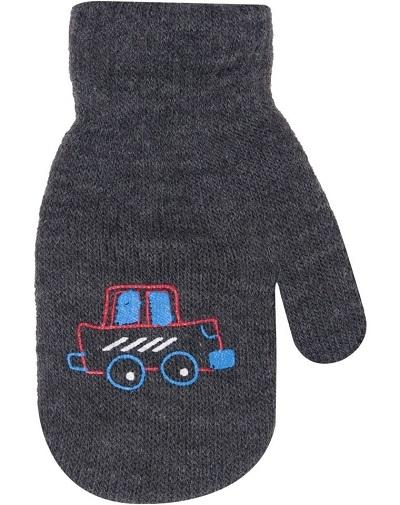 Klučičí akrylové rukavičky, oteplené YO - se šňůrkou, grafitové, vel. 13-14 cm