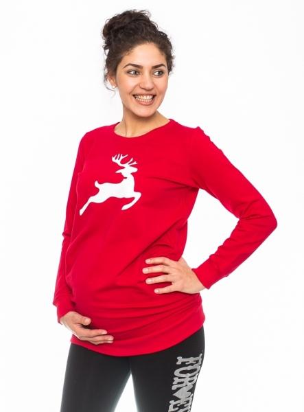 Be MaaMaa Těhotenské triko, mikina Renifer - červené, vel. S
